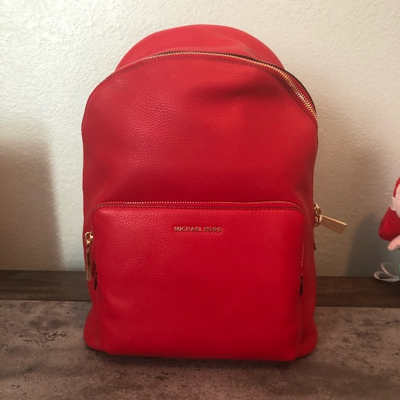 5a7f3a6df8f8 Michael Kors Leather Bright Red Backpack